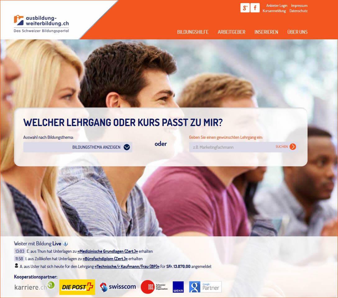 Ausbildung-Weiterbildung.ch: Weiterbildungsangebote suchen und finden