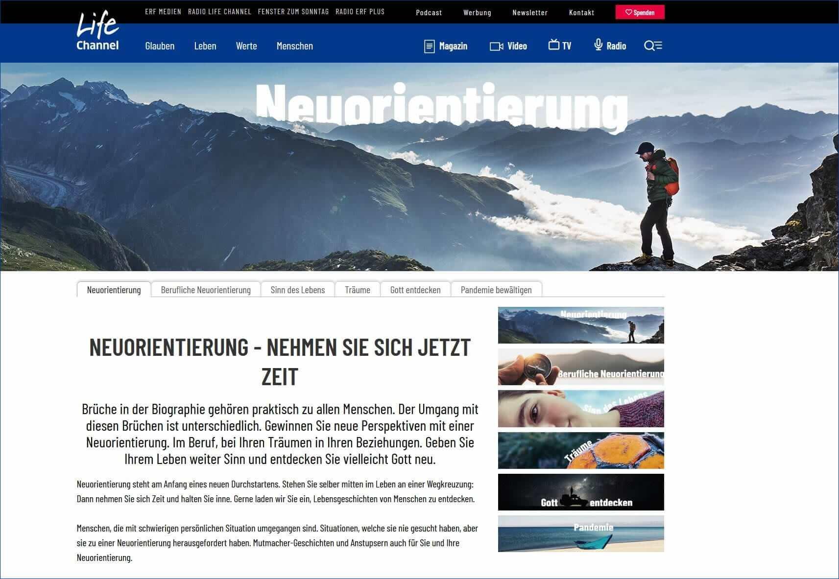 Lifechannel.ch: berufliche Neuorientierung, Quereinsteigen und wie es andere erlebt haben.