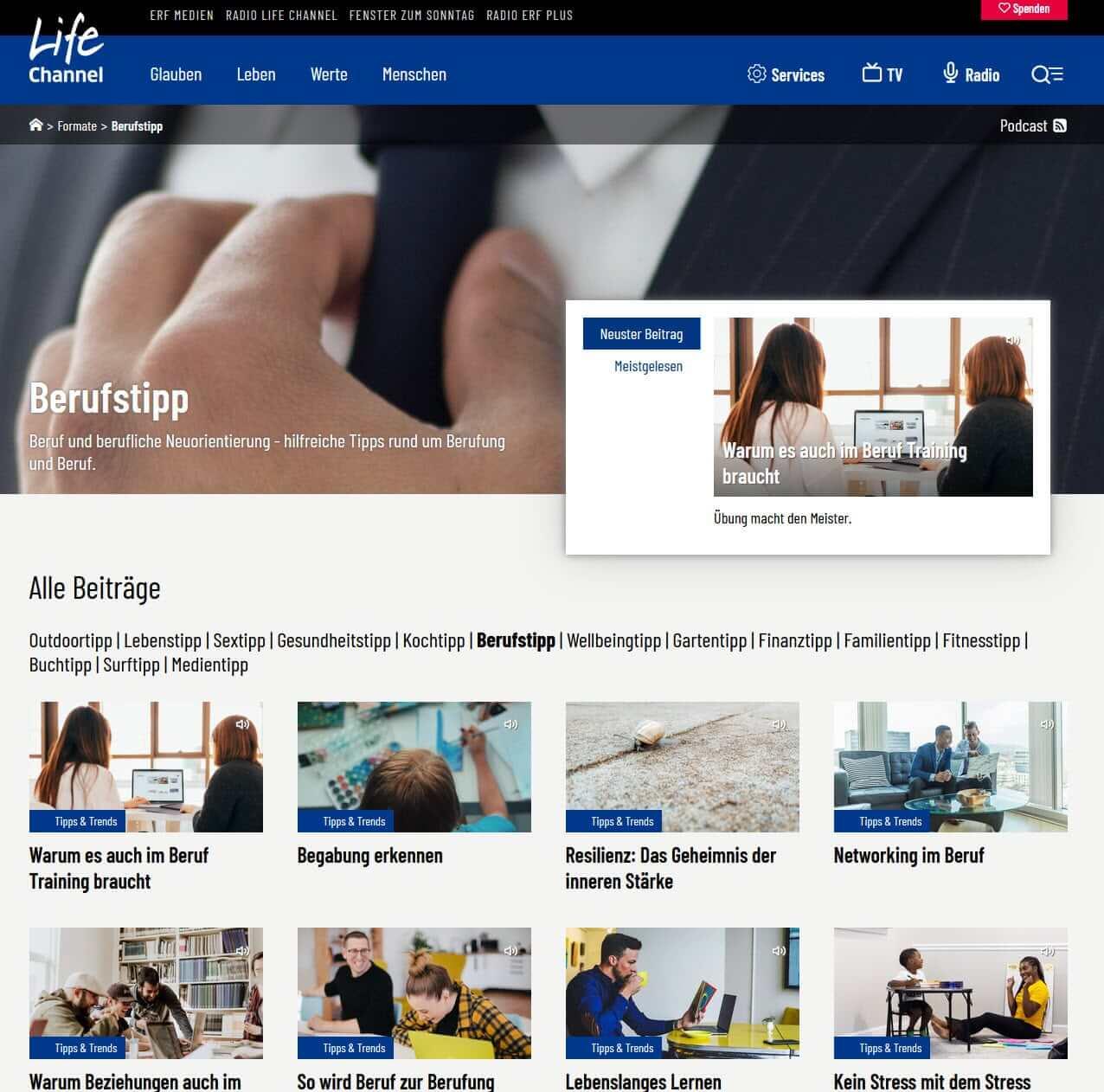 Berufstipp - Radiosendungen Life Channel