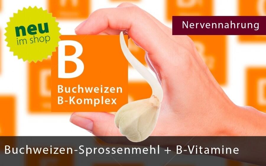 Buchweizen Sprossenmehl mit allen B-Vitaminen, 60 Kapseln pro Dose
