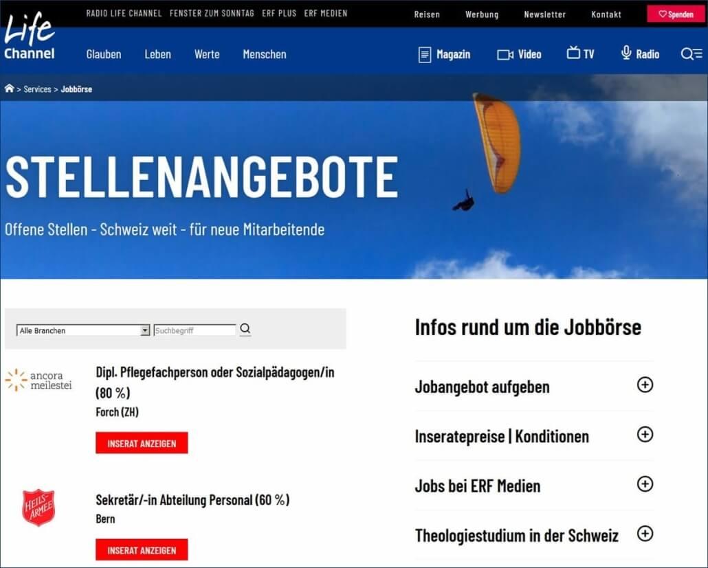 Christliche Jobs, Stellenangebote, Stellen auf Lifechannel.ch